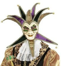 Deluxe Jolly Jester Venetian Masquerade Masked Ball Carnival Face Mask Fancy Dre