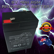 Brand New 6V 4.0AH Razorback AGM Rechargeable battery 6volt 4ah Toy Electric*