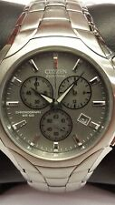 Men's Citizen Eco-Drive Silver Dial And Bracelet Chronograph Watch AT0880-50A