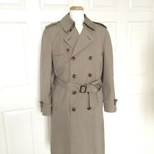 LONDON FOG Trench Coat Mens 40R Raincoat Vintage Double Breasted Belted Tan USA