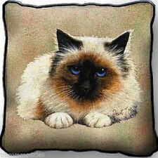 Birman Kitty Cat by Robert May Woven Art Tapestry Pillow 1950-P ~ Made in Usa