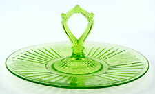 GREEN MAYFAIR OPEN ROSE CENTER HANDLE SERVER PLATE HOCKING DEPRESSION GLASS