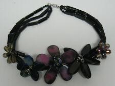 5 Flowers of ONYX ,AGATE, CRYSTALS and Onyx beads NECKLACE