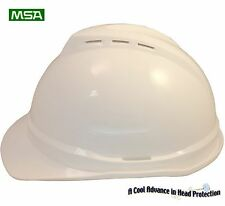 "MSA Advance Vented V-Gard Hard Hat ""WHITE"" With Ratchet Susp OSHA/ANSI Approved"