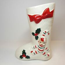 1940's VINTAGE CANDY CANE PIXIE SANTA'S BOOT WHITE CERAMIC CHRISTMAS DECOR