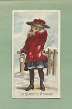 Lovely Young GIRL WITH SNOWBALL On MUZZY'S CORN STARCH Victorian Trade Card