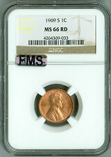 1969 S NGC MS66 RD MAC Full Memorial Step FMS Lincoln Cent, Beautiful Color,Rare