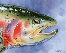 "Fly Fishing ""RAINBOW TROUT"" Watercolor 8 x 10 ART Print Signed by Artist DJR"