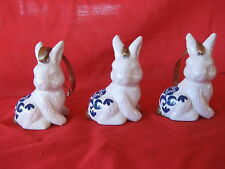 FIRST SNOW FALL MARTHA STEWART 3 RABBITS CHRISTMAS ORNAMENTS