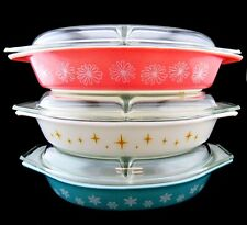 LOT 3 Collectible 1.5 QT Divided Pyrex Casserole DAISY, CONSTELLATION, SNOWFLAKE