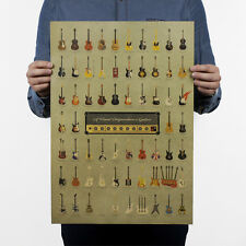 Home Top Cool Decor  Vintage Retro Guitars Kraft Paper Design Poster Print Art