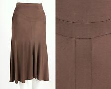 YVES SAINT LAURENT RIVE GAUCHE YSL BROWN JERSEY SKIRT SZ S