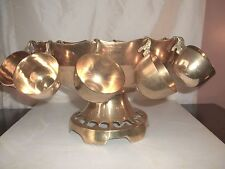 Large Vintage Solid Brass PUNCH BOWL Set w/ Stand 12 Cups Holiday Entertaining!