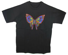 HAND BEADED & PAINTED BUTTERFLY BLACK T-SHIRT - Large