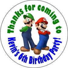12 Super Mario Brothers stickers Birthday Party 2.5 Inch Personalized