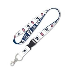 "Chicago Cubs W WIN 24"" Detachable Team Logo Colors Quality Lanyard Keychain MLB"