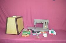 Amazing Singer 301 Sewing Machine + Attachments + Leather Tweed Case