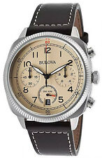 Bulova 96B231 Military Beige Dial Leather Strap Chronograph Men's Watch