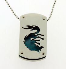 Dragon Dog Tag Pendant in Stainless Steel