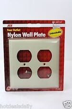 4 PACK LOT OF 4 OUTLET NYLON WALL PLATES IVORY COLOR WITH SCREWS ACE HARDWARE