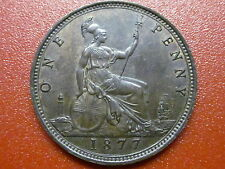 "British Penny 1877  Victoria Bun Head  ""EXTREMELY HIGH GRADE"" (877)"