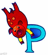 """3"""" SILLY ANIMAL ALPHABET ABC'S LETTER P PIG FABRIC APPLIQUE IRON ON"""