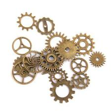 Lot 17pcs Bronze Steampunk Watch Clock Parts Gears Cogs Wheels Craft