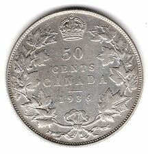 1936 Canada 50 Fifty Cents .800 Silver Half Dollar Coin A45
