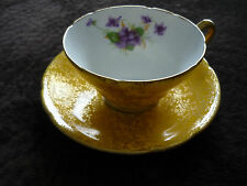 LOVELY STANLEY CHINA CUP & SAUCER/ ENGLAND/YELLOW/GOLD W PURPLE FLOWERS