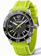 *BRAND NEW* Wenger Men's Roadster Black Dial Yellow Silicone Watch 01.0851.115