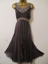 Monsoon Silk & Diamante Party/Evening/Wedding Occasion Dress Size UK 16