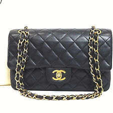 Authentic CHANEL Matelasse Black Lambskin Double Flap Gold Chain Shoulder bag 7