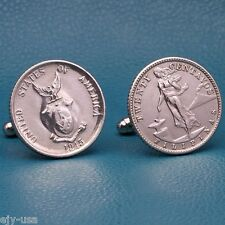 American Philippines Volcano SILVER Coin Cufflinks, 20 Centavos Commonwealth