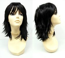 Black Shag Wig Straight Layered Bangs Synthetic Cosplay Anime Costume 12""