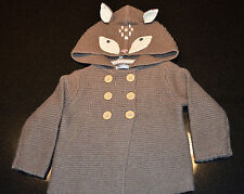 Mini Boden - Girls Knitted Animal Jacket - Brown Mouse Marl Deer Size 3-6 mo