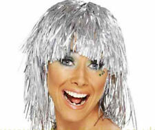 Metallic Silver Tinsel Wig Cyber Disco Nu Rave Festival Fancy Dress