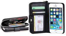 New All in One Zip Wallet Leather Case Cover For iPhone 4S