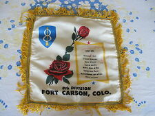 Fort Carson 8th Army Souvenir Pillow Case Scarf Sister Sweetheart Korean War Era