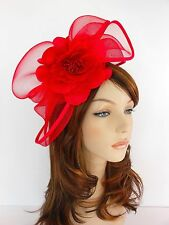 New Church Derby Wedding  Poly Fascinator Dress Hat w Headband FS-06 Red