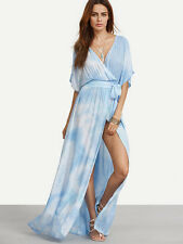 Maxi Dress Tie Dyed Cloud Sexy Beach Bohemian Slit Rayon Small NWOT