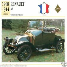 RENAULT AX 1908 1914 CAR VOITURE FRANCE CARTE CARD FICHE