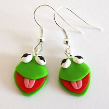 new handmade green animal earrings The Muppet Show Kermit the frog Sesame Street