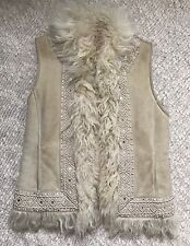 Tory Burch Leather Suede Shearling Fur Trim Vest Size XS Ivory