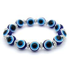 EVIL EYE BRACELET 12mm Resin Bead Blue Stretch NEW Luck Protection Turkish Nazar