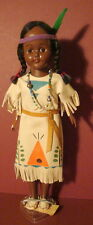 Vintage American Indian Doll with leather dress and shoes with beads Made in USA