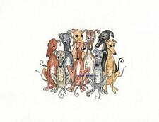 Whippet greyhound dog LOVE  ORIGINAL  Watercolour and Ink painting