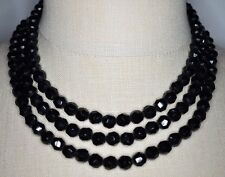 VTG 1959 CHRISTIAN DIOR GERMANY Triple Strand Black Glass Bead Choker Necklace