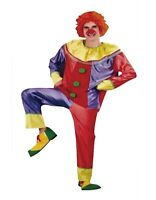 Mens Clown Costume Jester Joker Fancy Dress Halloween Party