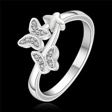 New Hot Women 925 Silver Plated Butterfly Band Ring Gift Jewelry Size 8