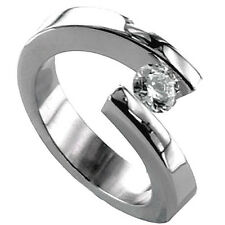 TITANIUM Bypass Tension Women's RING with Round CZ in size 5 - in Gift Box